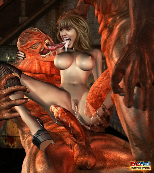 Nude female sex with monsters fantasy drawings